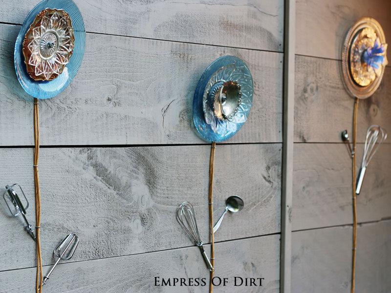 Dish and kitchen utensil flowers