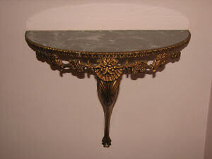 VTG Large Ornate Decorative Half Moon Wall Shelf, Faux Marble Kitchener / Waterloo Kitchener Area image 1