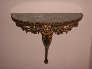 Vintage Large Ornate Decorative Half Moon Wall Shelf, Marble