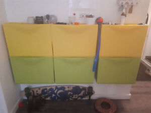 IKEA yellow and green storage boxes