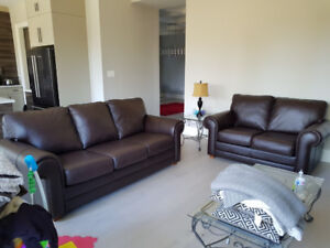 almost brand new top grain all leather couches, delivery availab