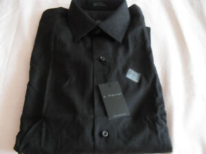 New man's black dress shirt