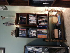 2 book shelves and a coffee table