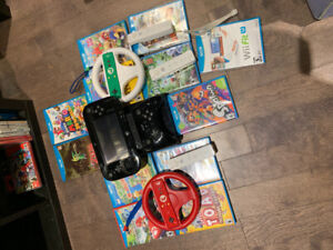 Wii U with 12 games and 4 controllers