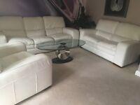 Full Set of 3 Ecru Leather Sofas