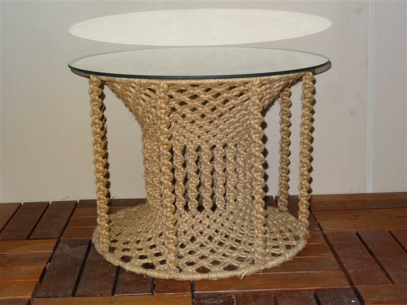 Super Vintage Macrame Mid Century Hippie Table With Glass Top