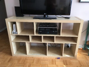 Kitchen table, Ikea Shelving Unit, Plastic Drawer Bins
