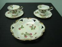BEAUTIFUL 5 PC. SET - IRIDESCENT CUPS, SAUCERS & BISCUIT PLATE