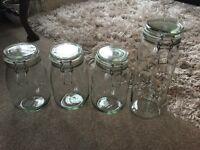 4 Clip Top Glass Jars Kilner Look