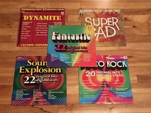 5 disques vinyles - Compilations années 60 et 70