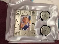 Baby picture frame with my first curl and first tooth box