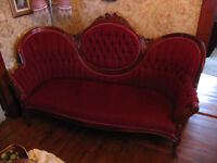 Antique Victorian Settee & Side Chair