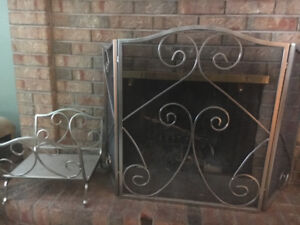 Fireplace Screen and matching wood  rack