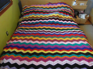 Colorful, hand-knitted blankets and throws