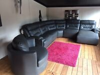 Grey leather recliner corner sofa with cuddle chair