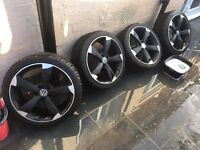 "** 18"" BLACK VW ROTOR ALLOYS WHEELS MATTE FINISHED **"