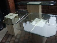 Glass Top Marble Base w/ Brass Support Tables