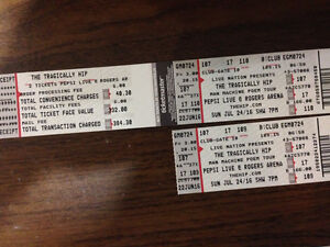 2 TRAGICALLY HIP TICKETS (JUNE 24) - MUST SELL