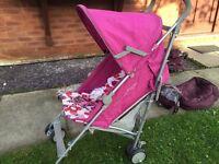 Mamas & papas trek pink pushchair stroller