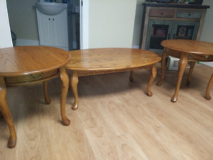 Solid Oak Coffee Table & End Tables