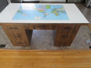 Vintage 70s Map of the World Desk with 7 Drawers