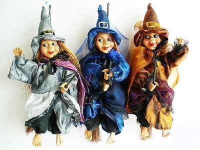 Hexenbesen Halloween (3 Hexen,auf Besen,freundlich,23 cm,Fasching,Fasnet,Hexenfiguren,Hexe,Halloween,)