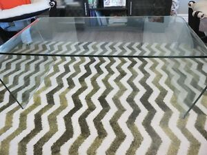One piece glass coffee table and two (2) glass end tables