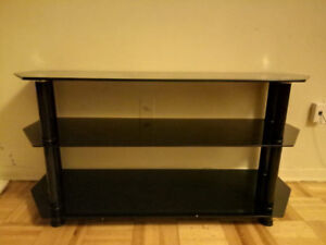 Black Glass Floor Stand with Chrome Legs