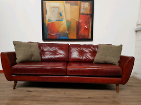 DFS Zinc French Connection 4 seater sofa in brown leather RRP £1799
