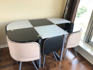 Used dining/lounge table and chair for sale - $10 each