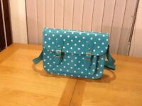 Teal & White Satchel
