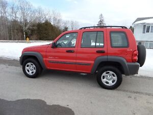 2002  JEEP LIBERTY SPORT 4X4 - ONLY 69,500 KM  $5500. CERT & E-T