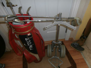 Golf clubs and push cart for sale
