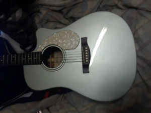 New Fender Accoustic/Electric light green Guitar  & accessories