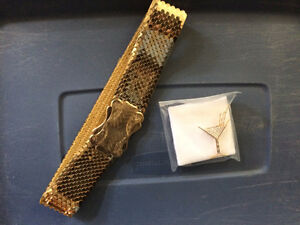 Cocktail Glass brooch and gold sequenced belt for sale