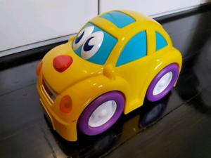 Cheerful car plays music.