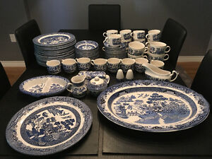 Large Blue willow China set - England stamped