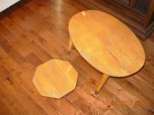 """Table/tabouret pin/pine antique27.94cmH,12.7cm/11""""H,5H, non fum"""