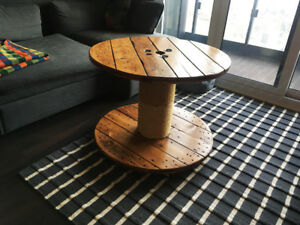 Upcycled Cable Reel Coffee Table / Cat Scratcher