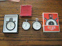 3 VINTAGE 1960'S SWISS MECHANICAL STOP WATCHES BY HEUER & RECORD