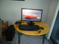 """iBUYPOWER tower, 24"""" BenQ Monitor, Mouse, Keyboard and Headset"""