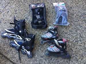 Youth rollerblades and protective gear