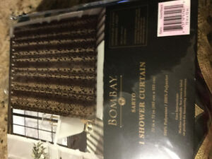 New Bombay shower curtain still in original package