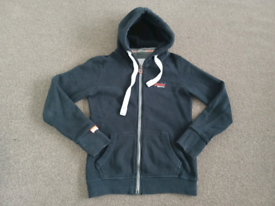SUPERDRY ZIP UP HOODED SWEAT SHIRT TOP SIZE LADIES/MENS SMALL NAVY