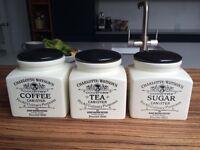 Tea/coffee/sugar canisters
