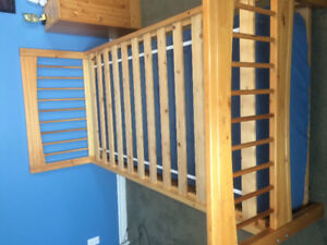 Solid pine twin bed with trundle