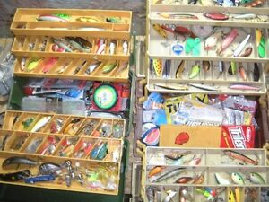 2, large possum belly tackle boxes loaded with lures, plastics
