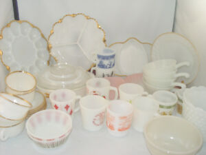 Vintage 33 Pc Fire King Dish Lot Oval Platter Pink Swirl Plates