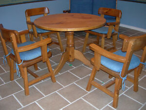 Pine Table With Arm Chairs