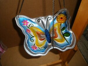 Two Painted Glass Butterfly Hanging Birdfeeders London Ontario image 4